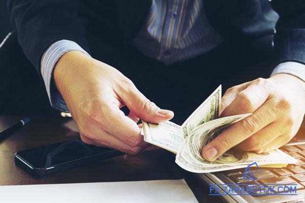 бизнесмен считает доллары