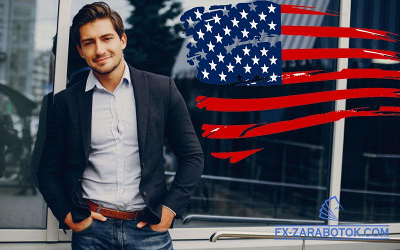 молодой-американец-на-фоне-флага-США